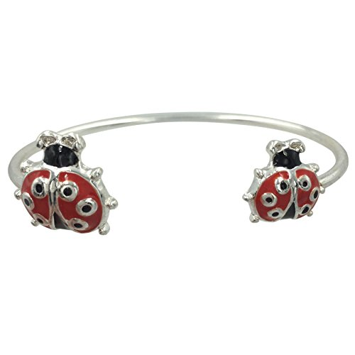 Gypsy Jewels Simple Theme Cuff Bracelet (Red & Black (Glass Beaded Ladybug)