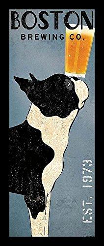 "Buyartforless IF WAP 13368 1.25"" Blk Plexi Framed Boston Terrier Brewing Co Panel Ryan Fowler Vintage Beer Ads Dogs Print Poster 8X20"