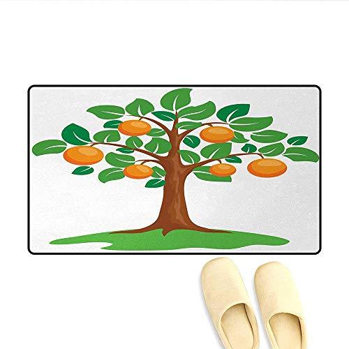 Bath Mat,Cartoon Style Fresh Orange Tree Nature Growth Illustration,Door Mats Area Rug,Orange Brown Fern Green,Size:16