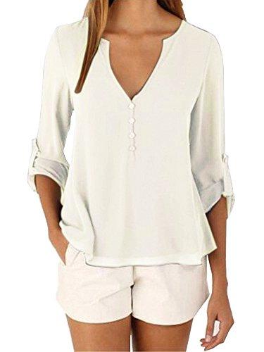 3 Tunique Haut Longues Top shirt Col Uni Manches V T 4 Blanc Chemisier Femme qtwaxfZqX