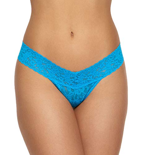 Hanky Panky Signature Lace Low Rise Thong #4911P,One Size,Fiji Blue