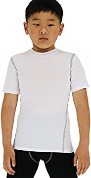 LANBAOSI Boy's Compression Shirts Child's Short Sleeve Base La
