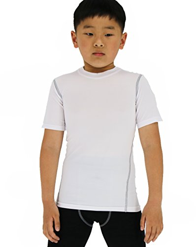 (SANKE Boy's Girl's Soccer Practice T-Shirt Sports Basic Tee Shirts Short Sleeve White)