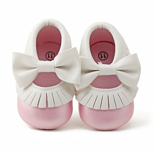 Delebao Infant Toddler Baby Soft Sole Tassel Bowknot Moccasinss Crib Shoes (12-18 Months, White & Pink)
