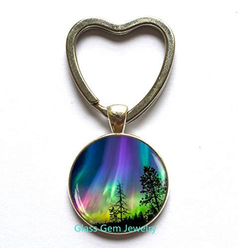 Northern Lights Key Ring, Northern Light Jewelry, Light Heart Keychain, Aurora Borealis Heart Keychain, Aurora Heart Keychain,Q0045 (Y1)]()