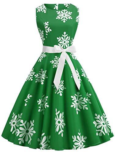 Plus Size Christmas Snowflake Vintage Flare Dress