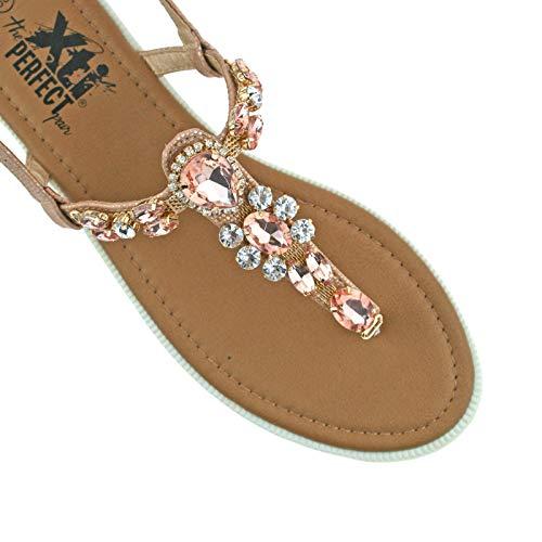 Xti eu Gold 47907 Ladies uk Rose Fastening 37 Diamante T Buckle 4 Sandals Strap Bar r1rOxwqU