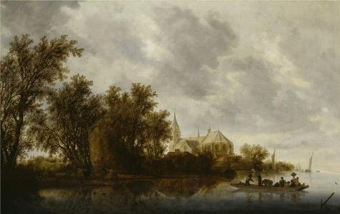 'Salomon Van Ruysdael,Landscape With A Ferry,1644' Oil Painting, 16x25 Inch / 41x64 Cm ,printed On Perfect Effect Canvas ,this Beautiful Art Decorative Prints On Canvas Is Perfectly Suitalbe For Bar Decor And Home Decoration And Gifts