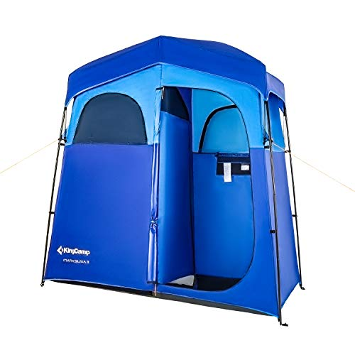 Shower Shelter - KingCamp 2-Room Non-Instant Easy Up Dressing Changing Room Shower Privacy Shelter Tent with Rain Fly