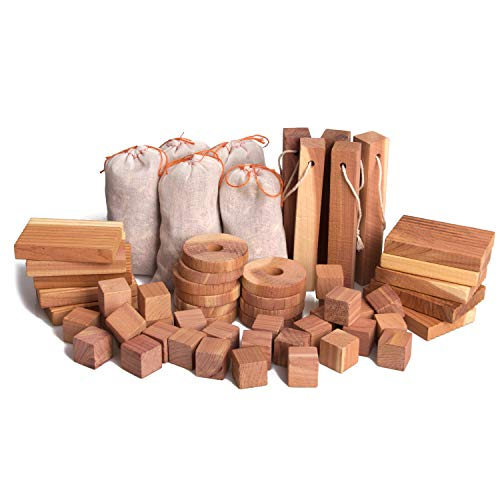 ACMETOP Aromatic Cedar Blocks for Clothes Storage | 100% Natural Cedar Balls Hangers Clothes Protector |Storage Accessories Closets & Drawers Freshener [60 Pack]