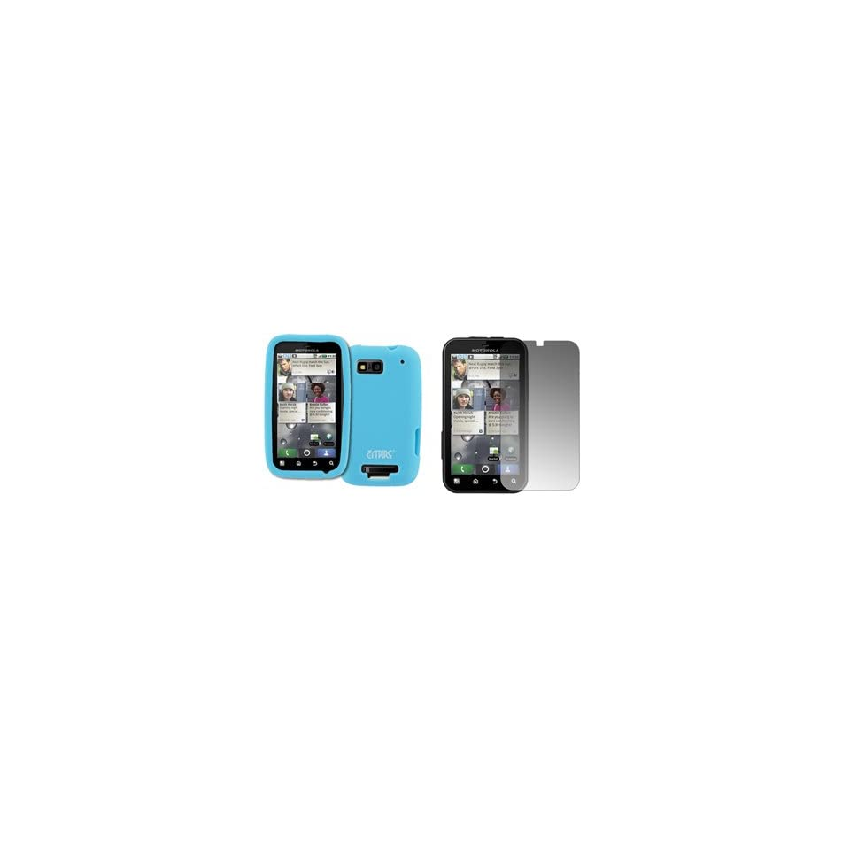 EMPIRE Light Blue Silicone Skin Case Cover + Screen Protector for T Mobile Motorola Defy MB525