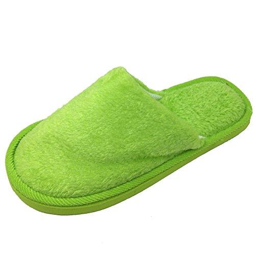Angelliu Femmes Hommes Printemps Hiver Pantoufles De Coton Chaud Intérieur Maison Chaussures Pantoufles Vert