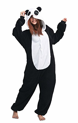 Unisex Adult Cosplay Panda Costume, Flannel Attractive Animal Onesie Designs Pajamas S (Couples Cosplay Costumes)