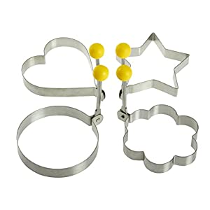 """Stainless Steel Fried Egg Molds with Convenient Handles- Fired Egg Rings - 4 Piece Set - Heart, Circle, Star and Plum Flower Shapes for Kitchen Cooking - 3.5""""-3.75"""""""
