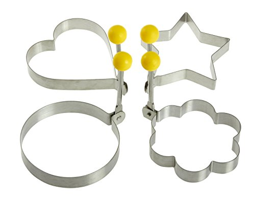 Stainless Steel Fried Egg Molds with Convenient Handles- Fired Egg Rings - 4 Piece Set - Heart, Circle, Star and Plum Flower Shapes for Kitchen Cooking - - Heart Shaped Egg