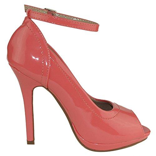 Scarpe Eleganti Da Donna Stiletto Punta Tono Su Tono Rosa Pompe Rosa