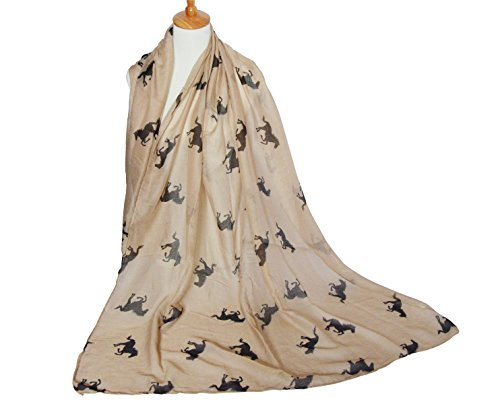 Herebuy Cool Animal Print Scarves: Fashionable Horse Print Scarf for Women (Brown&Black)
