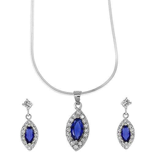 Micro Pave Réglage Argent et pendentif Goutte Blue Crystal boucles d'oreilles Valentine