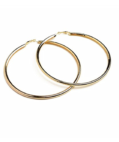 Extra Large Thick Puff Puffy 4.5 Inch Gold Tone Basketball Wives Hoop Earrings by Fashion Jewelry