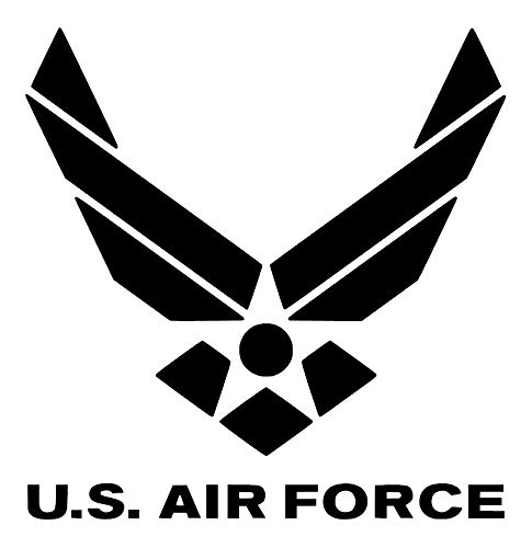 U.S. Air Force Logo with Words [Pick Any Color] Vinyl Transfer Sticker Decal for Laptop/Car/Truck/Window/Bumper (3in x 3in (Laptop Size), Black)