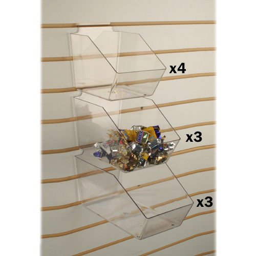Slatwall Clear Acrylic Bin Multisize Bundle Pack (4 Small, 3 Medium & 3 Large Plastic Slat Bins)