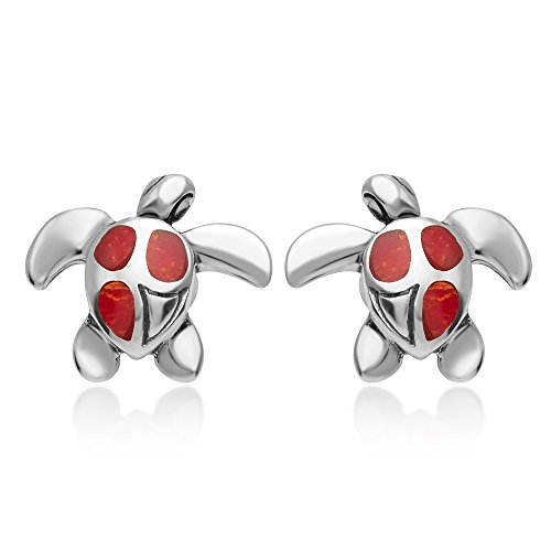 925 Sterling Silver Natural Red Sea Bamboo Coral Inlay Sea Turtle Post Stud Earrings 12 mm (Coral Silver)