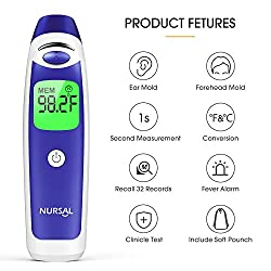 NURSAL Medical Forehead and Ear Thermometer, Baby Thermometer, Digital Medical Infrared Thermometer Suitable for Baby, Kid and Adult, FDA Approved