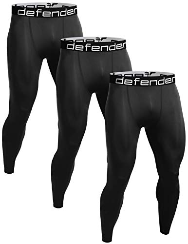 Defender Men's 3 Pack Sports Compression Pants Tights Inner Fits Hockey 3ABB_L