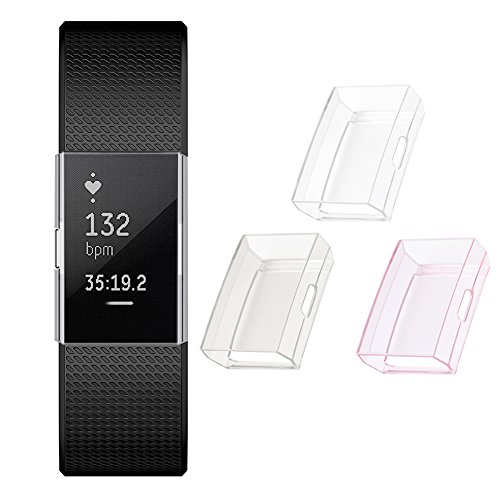 Screen Protector for Fitbit Charge 2, GHIJKL Ultra Slim Soft Full Cover Case for Fitbit Charge 2, 3 Pack, Crystal - Gray Smoke Crystal