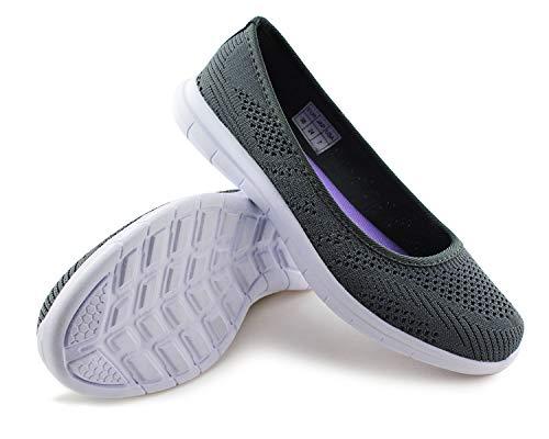 JABASIC Women Slip On Loafers Breathable Knit Flat Walking Shoes (dk Grey,5)