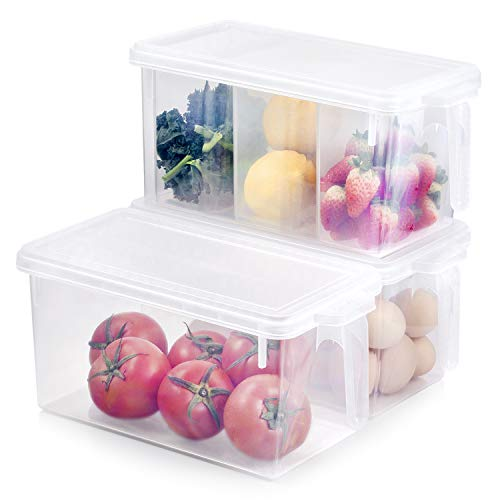 Kitchen Organizer Freezer Refrigerator Storage - 3 Sets Stackable Boxes 4.5Qt Plastic BPA Free Reusable Containers Meal Prep Food Cabinet Bin for Fridge, Pantry, Shelves, Home with Lids and ()