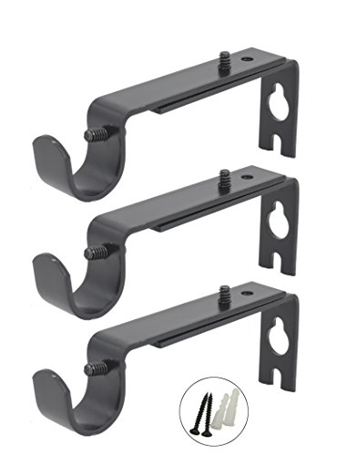 AddGrace Adjustable Curtain Rod Brackets Rod Holder/Bracket for Drapery Rod/Window Drapery (Set of 3, Black) by AddGrace (Image #6)