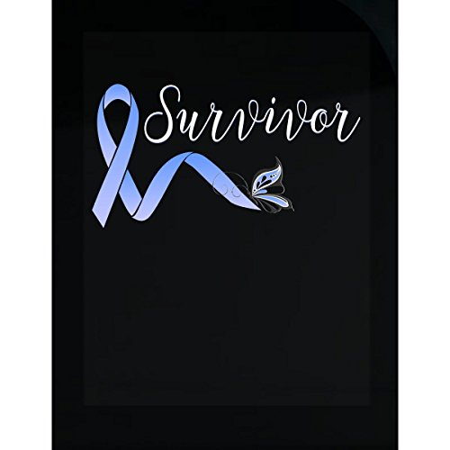 Survivor Light T-shirt (Survivor With Light Blue Awareness Ribbon And Butterfly - Sticker)