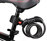AKM Bike Locks, 4-Feet Bike Cable Lock Resettable 5-Digit Combination with Complimentary Mounting Bracket