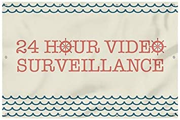 24 Hour Video Surveillance CGSignLab 12x8 Nautical Wave Wind-Resistant Outdoor Mesh Vinyl Banner