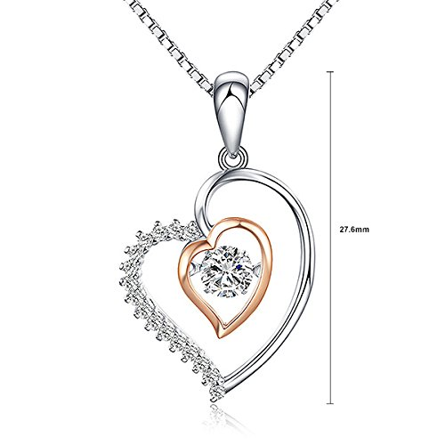 23732 Glamorousky Sterling Silver Heart Pendant with White Austrian Elements Crystal and Necklace