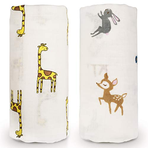 Baby Swaddle Blanket, Organic Muslin Cotton Newborn Receiving Wrap Blankets for Unisex, Personalized Baby Shower Gifts, Large 47 x 47 inches, Set of 2 Giraffe Deer ()