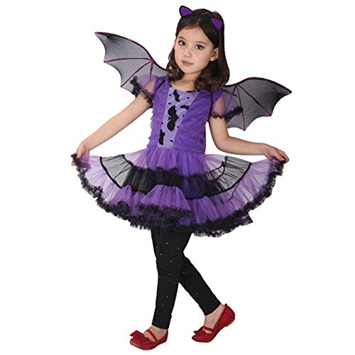CHICTRY Child's Batgirl Tutu Dress Halloween Cosplay Party Fairy Fancy Dress Costume Purple -