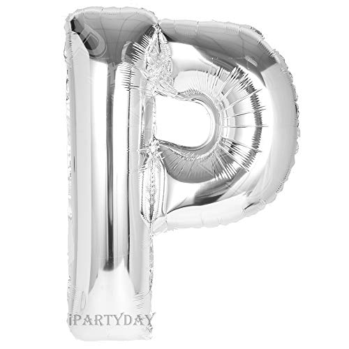 Letter Balloons, 40 inch Giant Silver Letter Balloon, Premium Quality Birthday Party Decorations Jumbo Helium Foil Mylar Balloons (Silver Letter P) -
