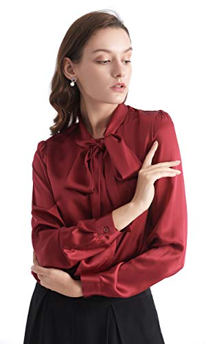 LilySilk Silk Ruffle Shirt Bow-tie Neck Raw Silk Blouse for Women Long Sleeve Ladies Tops Buttons VintageReal Claret L/12 ()