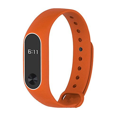 Coohole Silicon Wrist Strap WristBand Bracelet Fashion New Replacement For XIAOMI MI Band 2 (Orange)