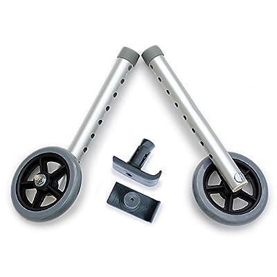 DELUXE Universal Walker Wheel Kit: 5 Inch Sport Wheels and FREE FlexFit Ski Glides ($8 value)