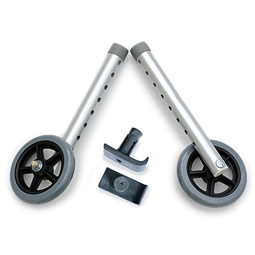 DELUXE Universal Walker Wheel Kit: 5 Inch Sport Wheels and FREE FlexFit Ski Glides ($8 value) ()