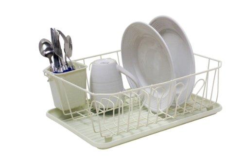 UPC 857198104641, Home Basics DD10464 Dish Drainer, 3-Piece, Vinyl Beige