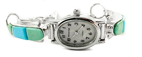 Small Women's Navajo Turquoise Silver Inlay Toggle Watch Bracelet