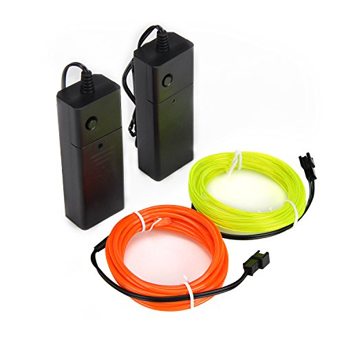 2Pack Neon Light EL Wire High Bright Glowing with Battery Controller for Burning Man Halloween Christmas Party DIY Costumes Decoration-9ft (Limegreen Orange) ()
