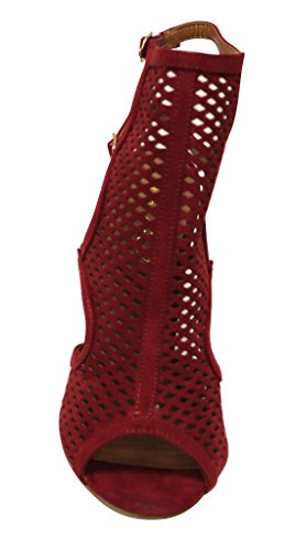 Bonnibel Marisa-4 Kvinners Pip Toe Sexy Mesh Slingback Regulerbar Dobbelt Ankel Stropp Nubuck- Krenget Sandaler Vin
