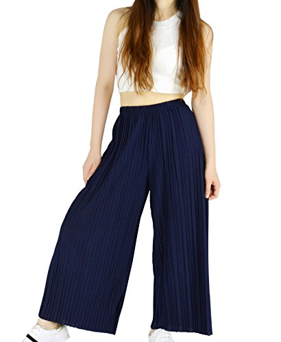YSJ Women's Pleated Cropped Pants Solid Straight-leg Wide Leg Culottes Trousers (S, Navy (Straight Leg Crop Yoga Pant)