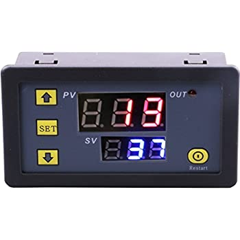 Amazon misol 12v timer switch timer controller lcd display yeeco dual digital display redblue led dc 12v timer delay relay board 1500w 10a sciox Gallery