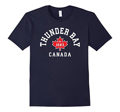 Mens Thunder Bay Canada T Shirt Canadian Flag Maple Leaf Gift Tee Large Navy